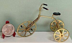 Vintage Brass Tricycle  Dollhouse miniature 1:12 Black Seat Toy Bike
