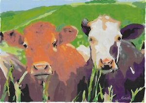 original painting A4 365BJ art samovar acrylic modern animal cows Signed 2021