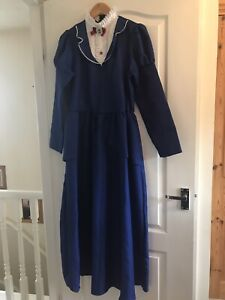 Disney Mary Poppins Costume Size 12-14 With Hat And Umbrella
