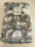 Baby Starters Gray Infant Blanket Safari Animals Elephant Giraffe Lion Unisex
