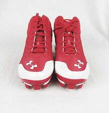 NWB Youth Under Armour Spine Heater Mid Baseball Cleats Red and White Size 5Y