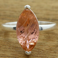 Simulated Peach Morganite 925 Sterling Silver Ring Jewelry Size 6-9 DRR1077_D