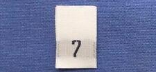 25Pcs White Taffeta Woven Clothing Letter Size Tab Tag Label Number 7 SEVEN