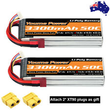 2pcs Youme 4S 3300mAh LiPo Battery 14.8V 50C for RC Drone Helicopter Airplane AU