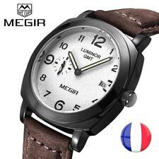 Montre de Luxe Militaire Homme Megir Bracelet Cuir Date Sportive * Idée cadeau