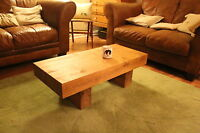 Coffee table solid oak new rustic chunky oak beam  contemporary handmade