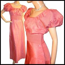 Vtg 30s PINK Long Quilted PUFF Sleeve MOIRE Dress S 36