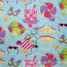 BonEful Fabric FQ Cotton Quilt Aqua Blue Beach Girl Swim Suit Ball Flip Flop Bag