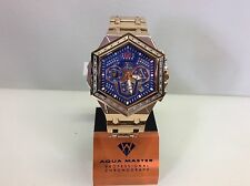 Men Aqua Master Jojo Jojino Joe Rodeo Rose Metal Band 48mm Diamond Watch W#356-4