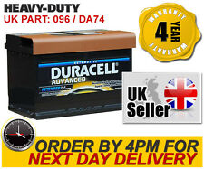 DA74 Duracell Advanced Car Battery 096 - fits BMW Citroen Ferrari Ford Jag Merc