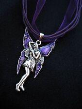 Fairy Necklace Fae Silver Purple Fantasy Enamel Myth Gothic Choker Princess