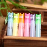 6PCS Highlighter Pen Rabbit Writing Kawaii Stationery Mini Marker Pens Set NEW