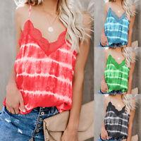 Summer Women V Neck Sleeveless Vest Casual Lace Vest Blouse T-Shirt Cami Tops XL