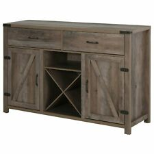 Wooden Sideboard Retro Style Cabinet Drawers Cupboard X-Frame Wine Rack Drawers