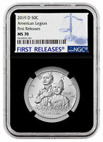 2019 D American Legion 100th Clad Half Dollar NGC MS70 FR Black Core SKU57408