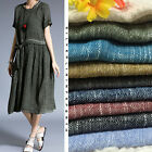 10 Colours Linen Cotton Crepe Yarn Dyed Fabric per Meter / Burgundy Black Blue