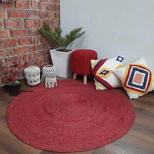 Rug 100% natural jute handmade reversible braided rug modern living outdoor rug