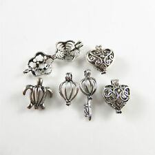 Wholesale 6pcs Mixed Silver Brass Hollowed Locket Charms Necklace Pendant 52217