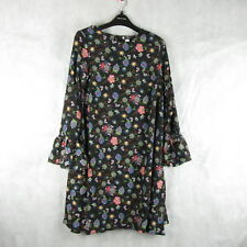 New! Stunning Glamorous Black Bright Floral Dress Size 12 Casual Stylish Fashion