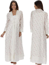 """The 1 for U Womens 100% Cotton Long 55""""Victorian Style Robe,Large,Vintage Rose"""
