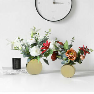 2PCs Simple Modern Plating Gold Vase Flower Table Decoration Ceramic Flower Vase
