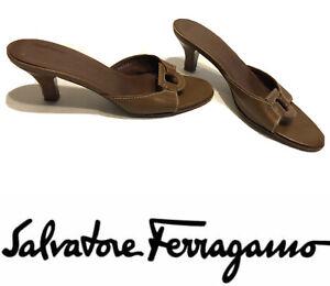 💥Salvatore Ferragamo Women's Open Back Peep Toe Slide Heel Brown 8.5 A Loop