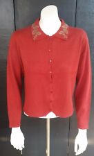NWT Gina Peters Women Medium Floral Design Sweater Cotton Red Wine Maroon A1