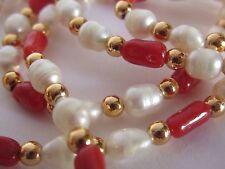 VINTAGE BELL 'Acqua dolce Perla Corallo e Oro Collana Di Perline