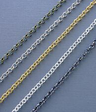 3ft Gold/silver/black Rolo Cable Chains 4mm Link opened Findings Jewelry marking