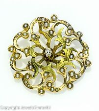 Antique Victorian 14K Gold Diamond Natural Seed Pearl Flower Pendant