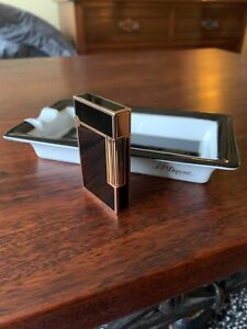 S.T. Dupont L2 Lighter Gold Black Lacque de Chine with Dupont Ashtray, serviced