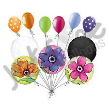 11 pc Painted Flower Balloon Bouquet Spring Birthday Baby Shower Wedding Bridal