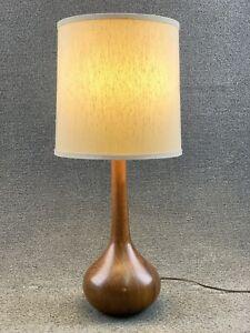 "Mid Century Modern Koa Teak Wood Table Lamp - 27"""