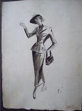 ink watercolor fashion illustration drawing 1940s -1950s