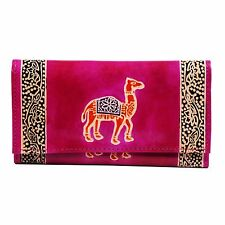 SHANTINIKETAN Leather Indian Camel Design Clutch Womens Wallet Boho Purse Pink