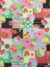 Cupcake Muffin Dolci Ciliegie 100% Cotone Quilting Tessuto Lecien Giappone