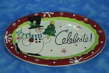 Fritz And Floyd Sentiment Tray Holiday Snowman Celebrate Merry and Bright