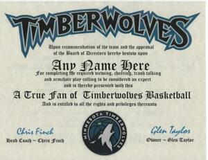 Minnesota Timberwolves~ CERTIFICATE ~ DIPLOMA~MAN CAVE ~ WOLVES   FAN~ GIFT