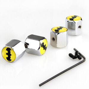 4Pcs Batman Design Car Wheel Tire Valve Stem Dust Anti Theft Locking Cap Cover P