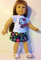 """Hello Kitty Fits American Girl Doll, Journey, 18"""" Clothes ~ Skirt & Top !"""