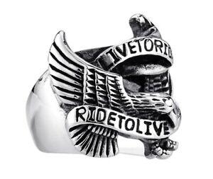 Men Hip Hop /Punk Fashion Ride to Live Eagle Titanium Stainless Steel Ring 10-12