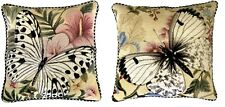 """Pair of 16""""x16"""" Handmade Wool Needlepoint Butterfly Pillow with Checker Cording"""