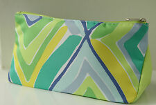 CLINIQUE LARGE PALE GREEN BLUE & YELLOW MAKE UP BAG / TOILETRY BAG