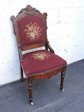 Walnut Early Victorian Tapestry Eastlake Side Chair with Porcelain Wheels 7796