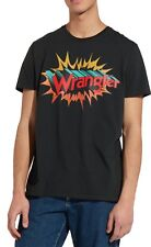 Wrangler Retro Festival Brand Logo T-shirt Mens Crew Neck Print Cotton Tee Black