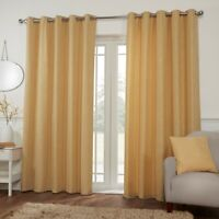 MIAMI Eyelet Ring Top OCHRE Mustard Woven Curtains, Door Curtains,Cushion Covers