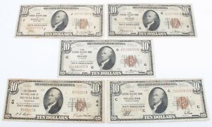 LOT OF FIVE 1929 US $10 DOLLAR NATIONAL CURRENCY NOTES - NO RESERVE #CCB2-2