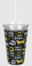 Batman Acrylic Cup/Drinking Glass with Straw: Logo's All Over