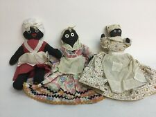 3 Mammy Dolls Vtg Antique Black African Americana Aunt Jemima Folk Art Handmade
