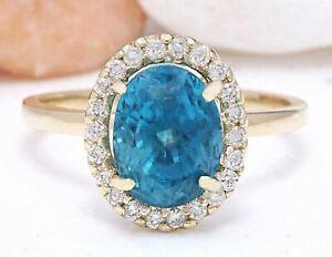 5.02 Carat Natural Zircon 14K Solid Yellow Gold Diamond Ring